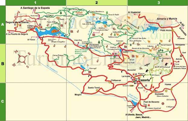 Sierra De Cazorla Y Segura Mapa.Mapa De Los Lugares De Interes Turistico De La Sierra De