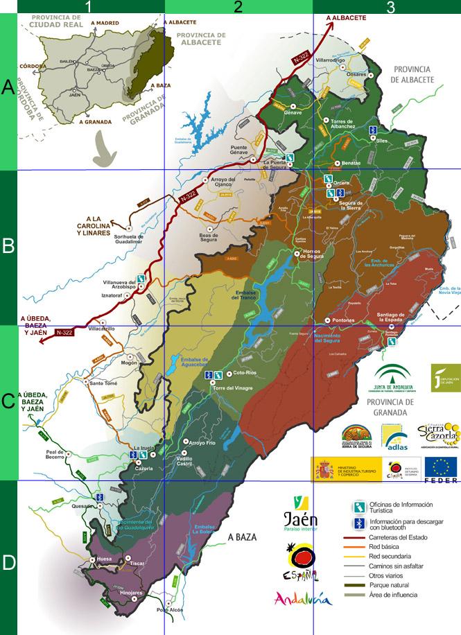 Sierra De Cazorla Y Segura Mapa.Mapa De Las Sierras De Cazorla Segura Y Las Villas